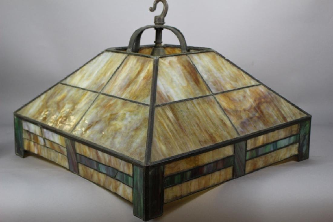 Arts & Crafts Slag Glass Shade - 4