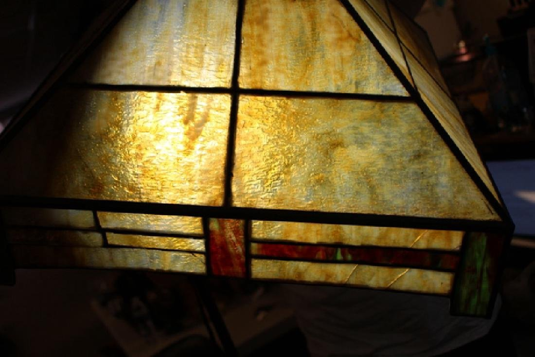 Arts & Crafts Slag Glass Shade - 8