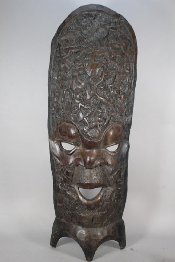 Vintage African Carved Wood Floor Mask