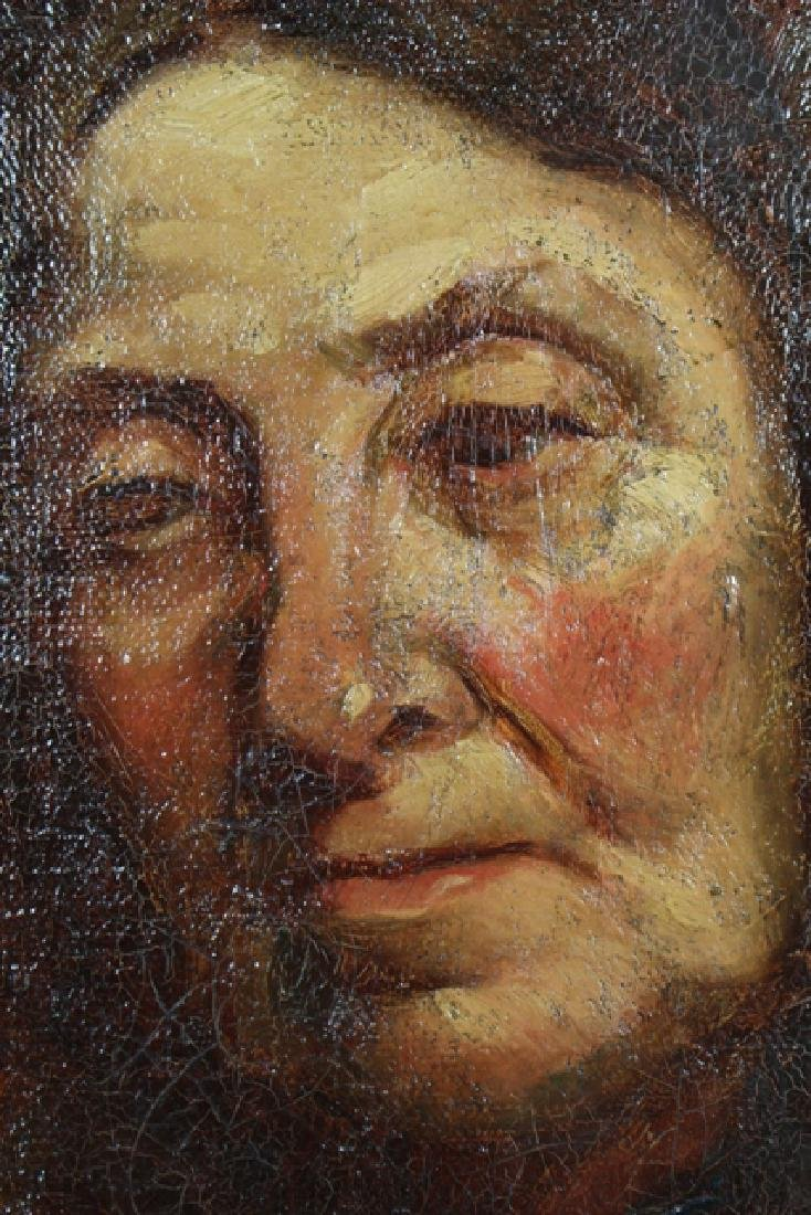 19th Century Early American Portrait on Canvas - 5
