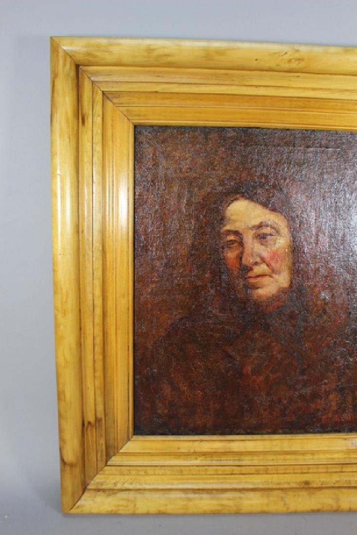 19th Century Early American Portrait on Canvas - 6