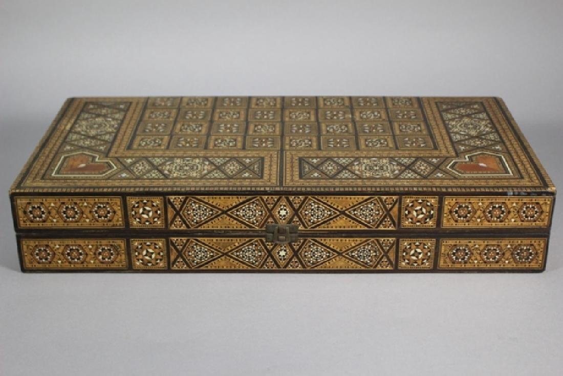 Marquetry Inlaid MOP Traveling Backgammon