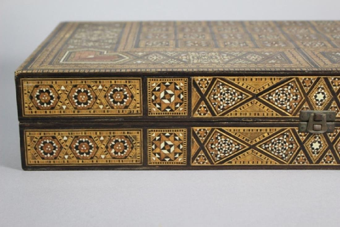 Marquetry Inlaid MOP Traveling Backgammon - 2