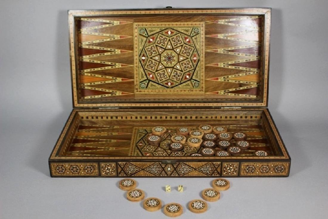 Marquetry Inlaid MOP Traveling Backgammon - 3