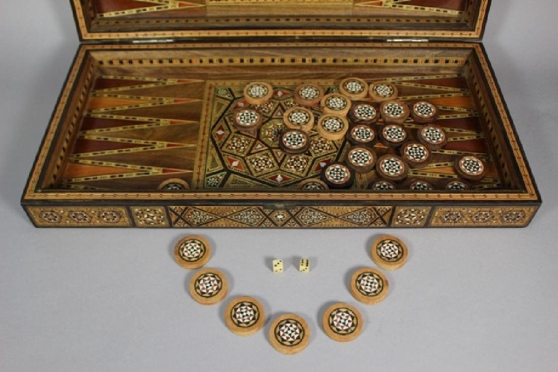 Marquetry Inlaid MOP Traveling Backgammon - 4