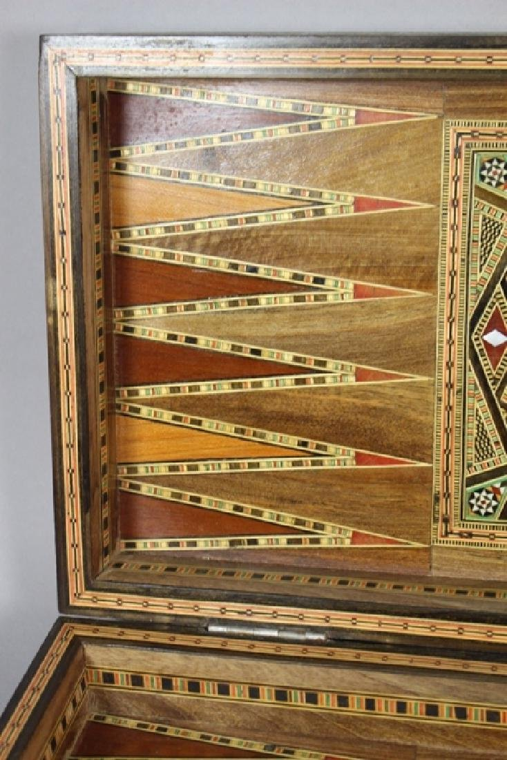 Marquetry Inlaid MOP Traveling Backgammon - 6
