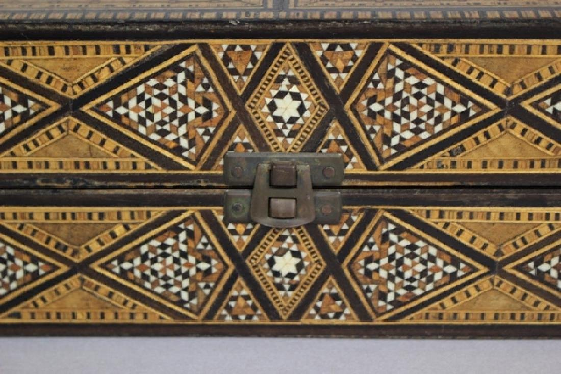Marquetry Inlaid MOP Traveling Backgammon - 7