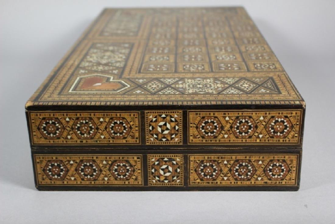 Marquetry Inlaid MOP Traveling Backgammon - 8