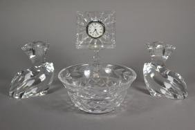 Orrefors Candlesticks and Waterford Crystal Pieces