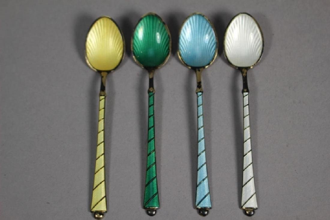 Set of Four Ela Denmark Enameled Sterling Spoons