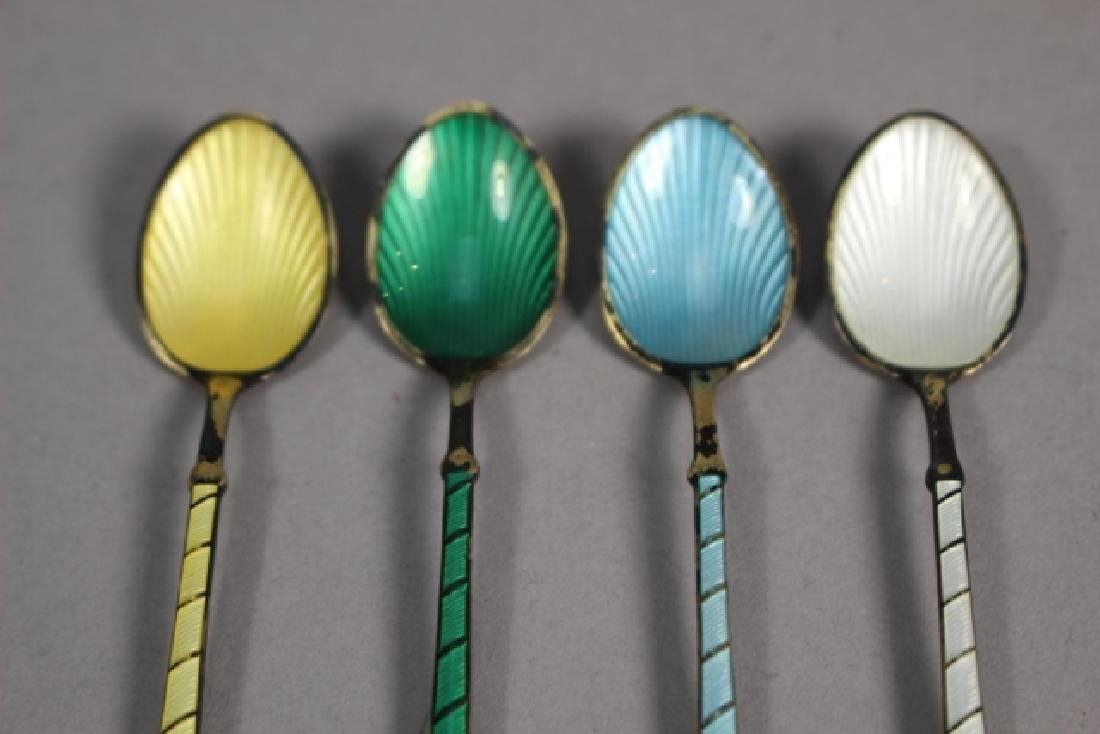 Set of Four Ela Denmark Enameled Sterling Spoons - 2