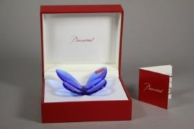 Baccarat Blue Crystal Butterfly Paperweight
