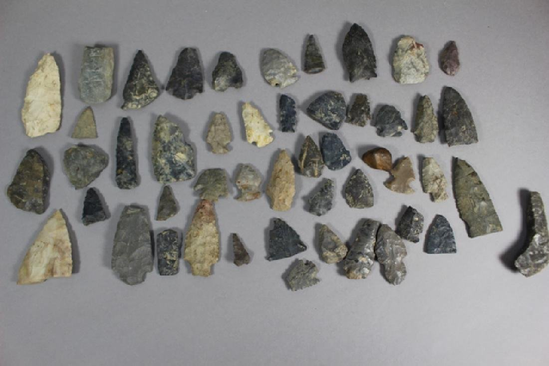 Lot of 48 Native American Arrowheads and Points