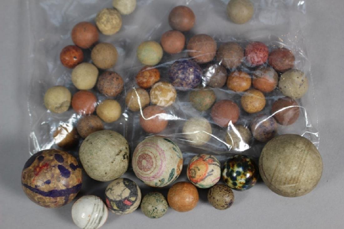 Collection of 40+ Antique Clay Marbles