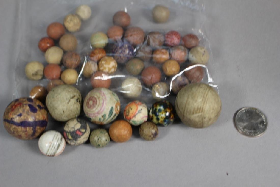 Collection of 40+ Antique Clay Marbles - 4