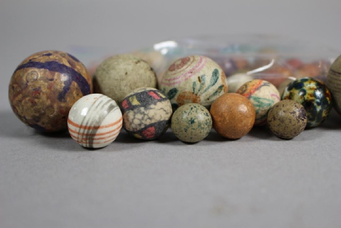 Collection of 40+ Antique Clay Marbles - 5