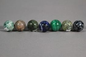 """Seven 1"""" Stone Marbles"""