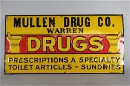 "Mullen Drug Co. Warren ""DRUGS"" Tin Sign"
