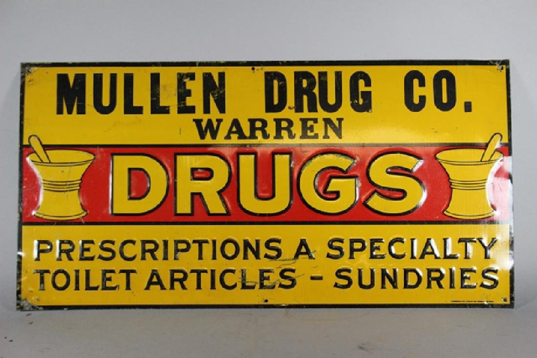 "Mullen Drug Co. Warren ""DRUGS"" Tin Sign"