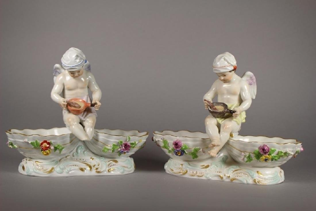 Pair of Meissen Figural Cupid Dishes