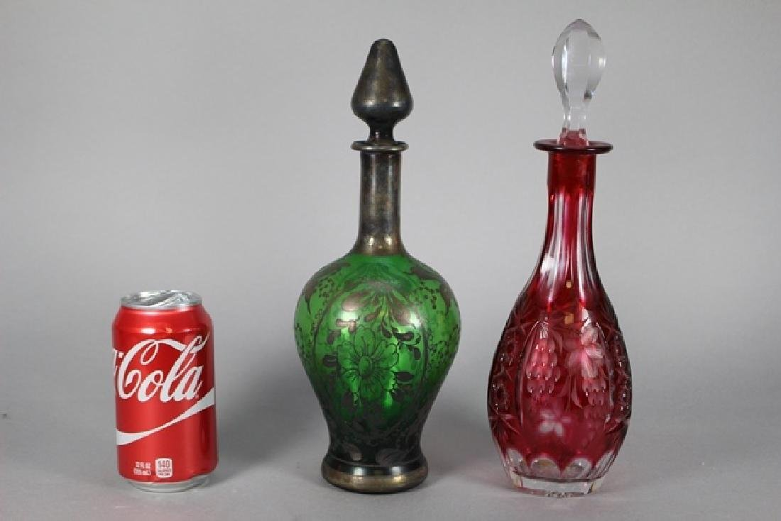 Two Art Glass Decanters ~  Sterling Overlay - 3