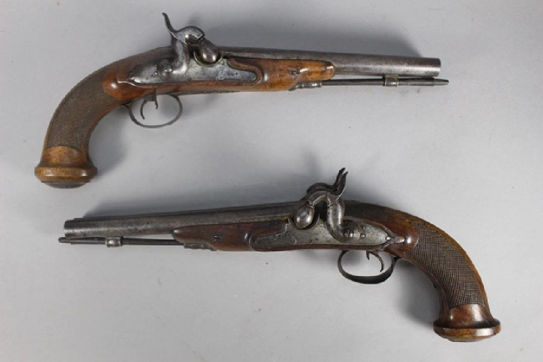 Pair of 19th  English Percussion Dueling Pistols