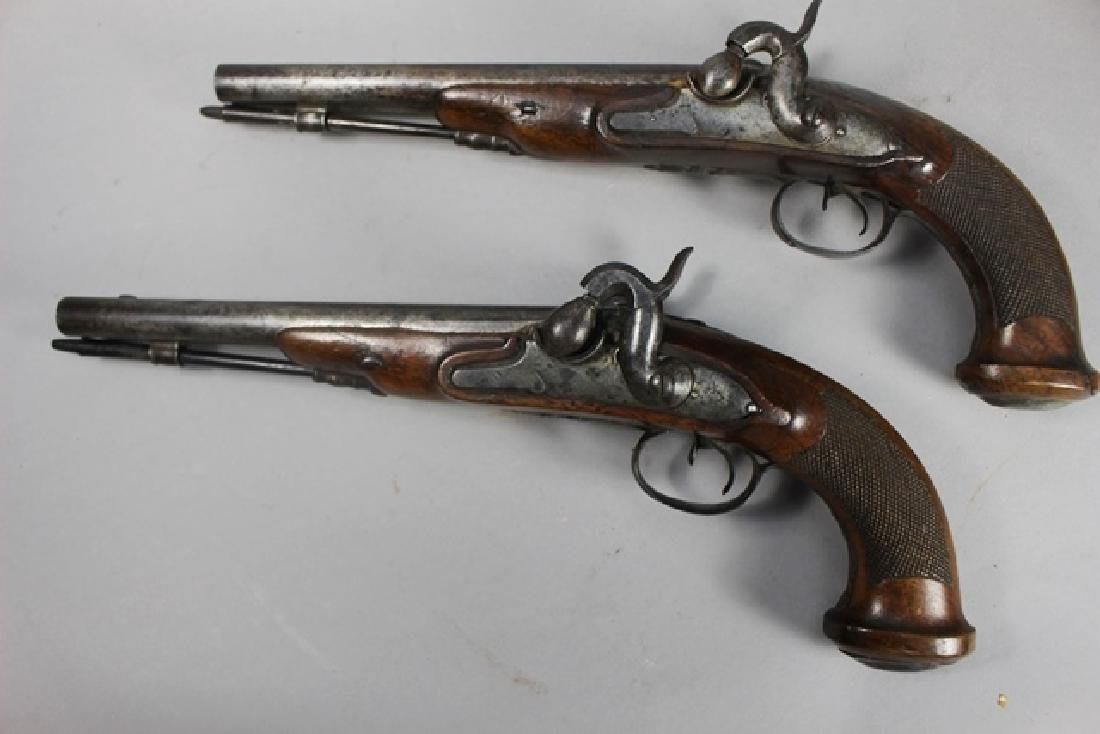Pair of 19th  English Percussion Dueling Pistols - 4