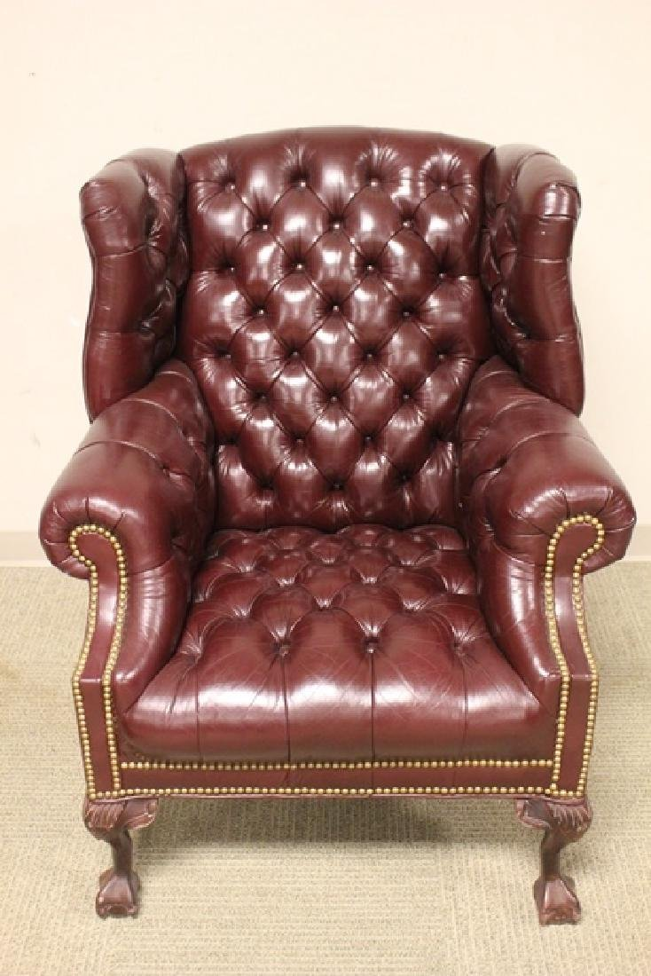 20th C. Burgundy Leather Lawyers Chair - 2