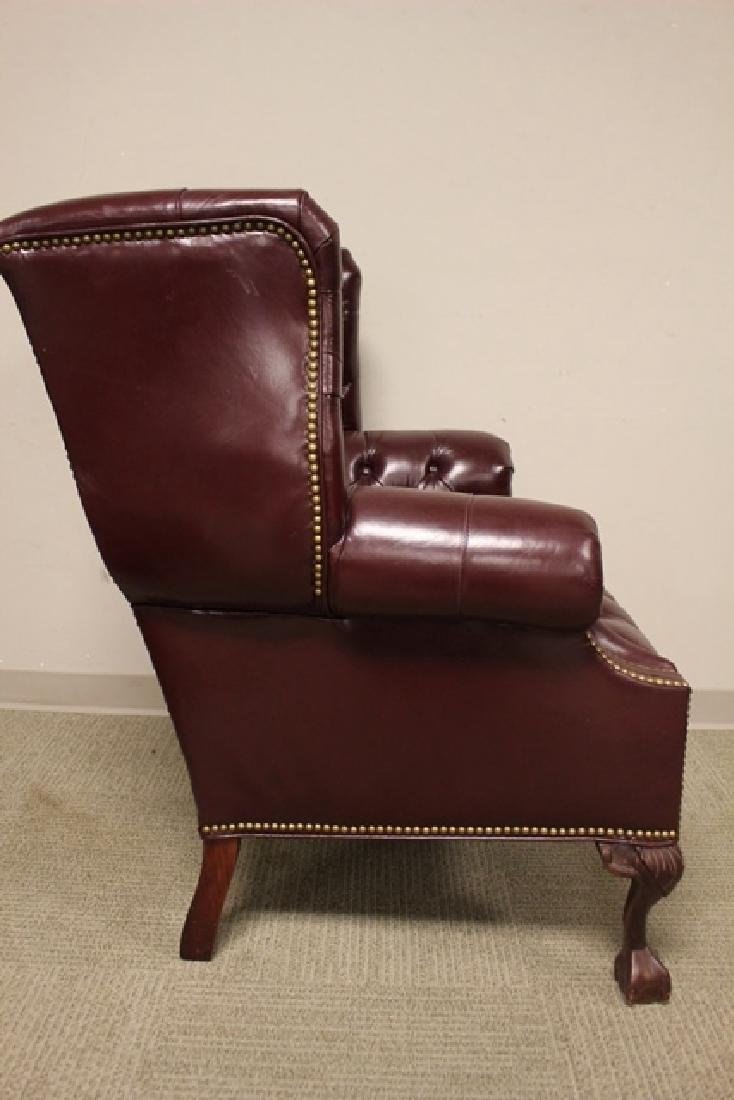 20th C. Burgundy Leather Lawyers Chair - 4