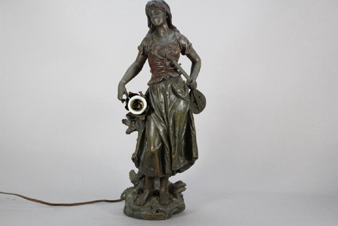 Signed  Victorian Figural Lamp