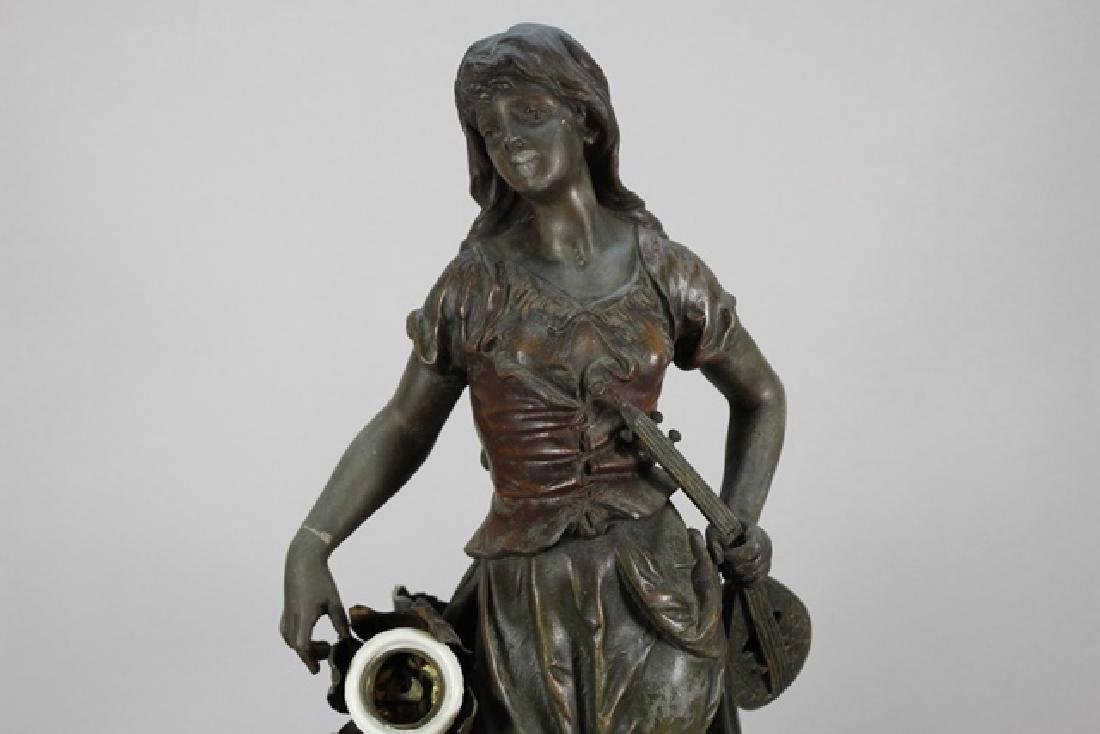 Signed  Victorian Figural Lamp - 2