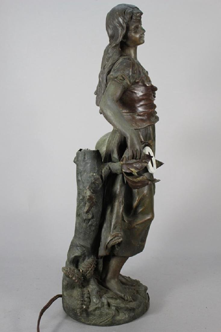 Signed  Victorian Figural Lamp - 4