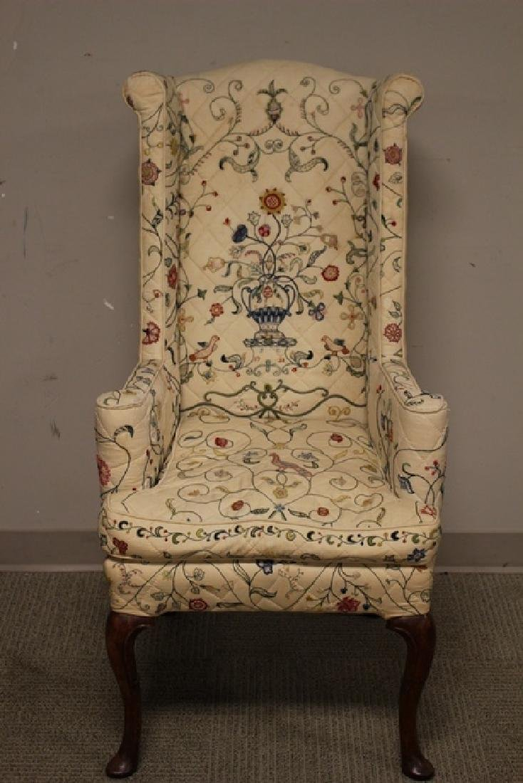 Early 19th C. Quilted Queen Anne Chair