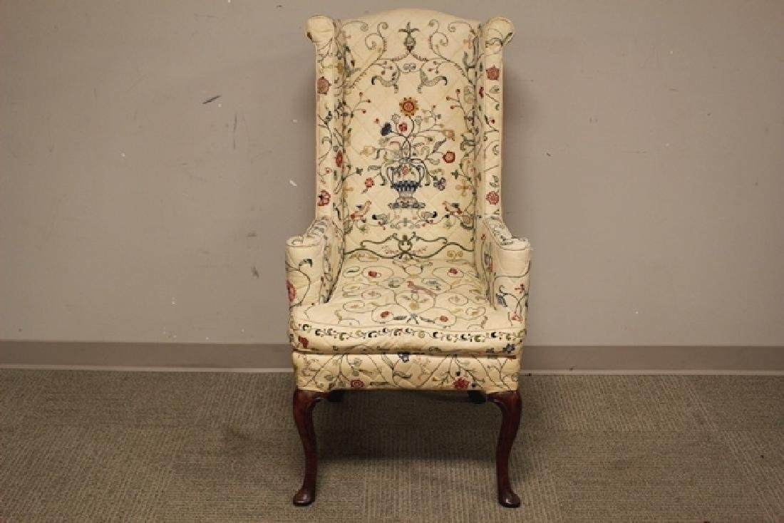 Early 19th C. Quilted Queen Anne Chair - 2