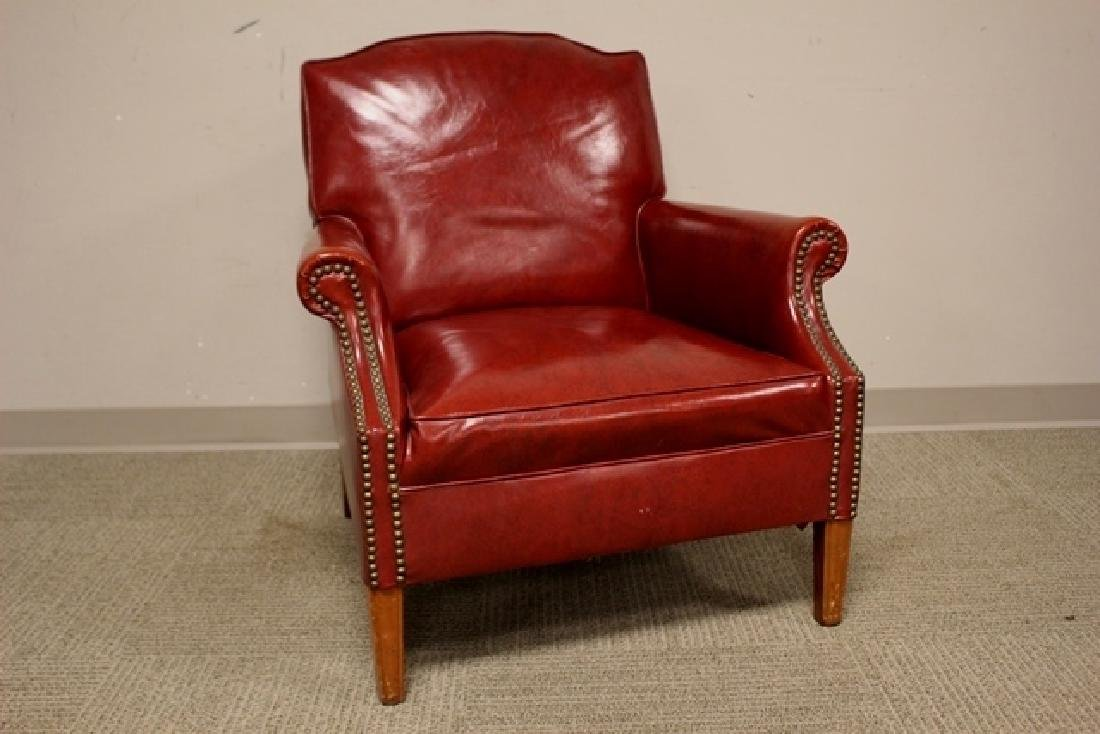 1940's Red Leather Gentelmans Chair