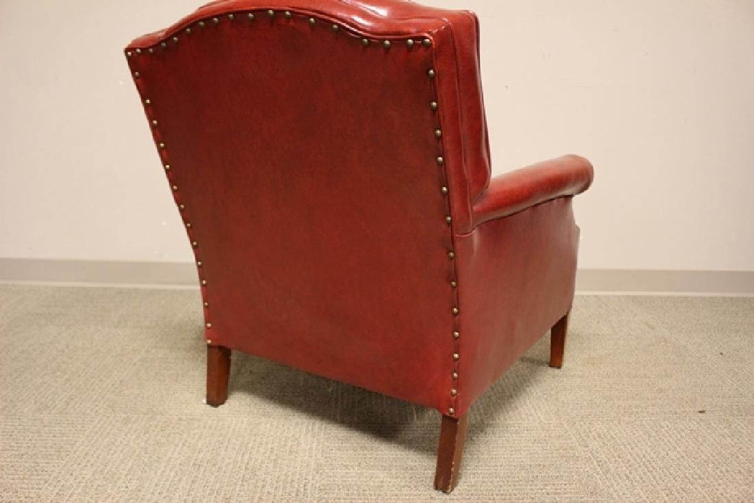 1940's Red Leather Gentelmans Chair - 4