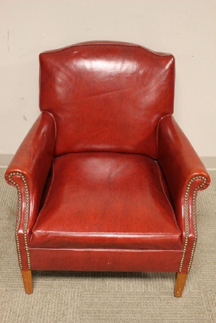 1940's Red Leather Gentelmans Chair - 5