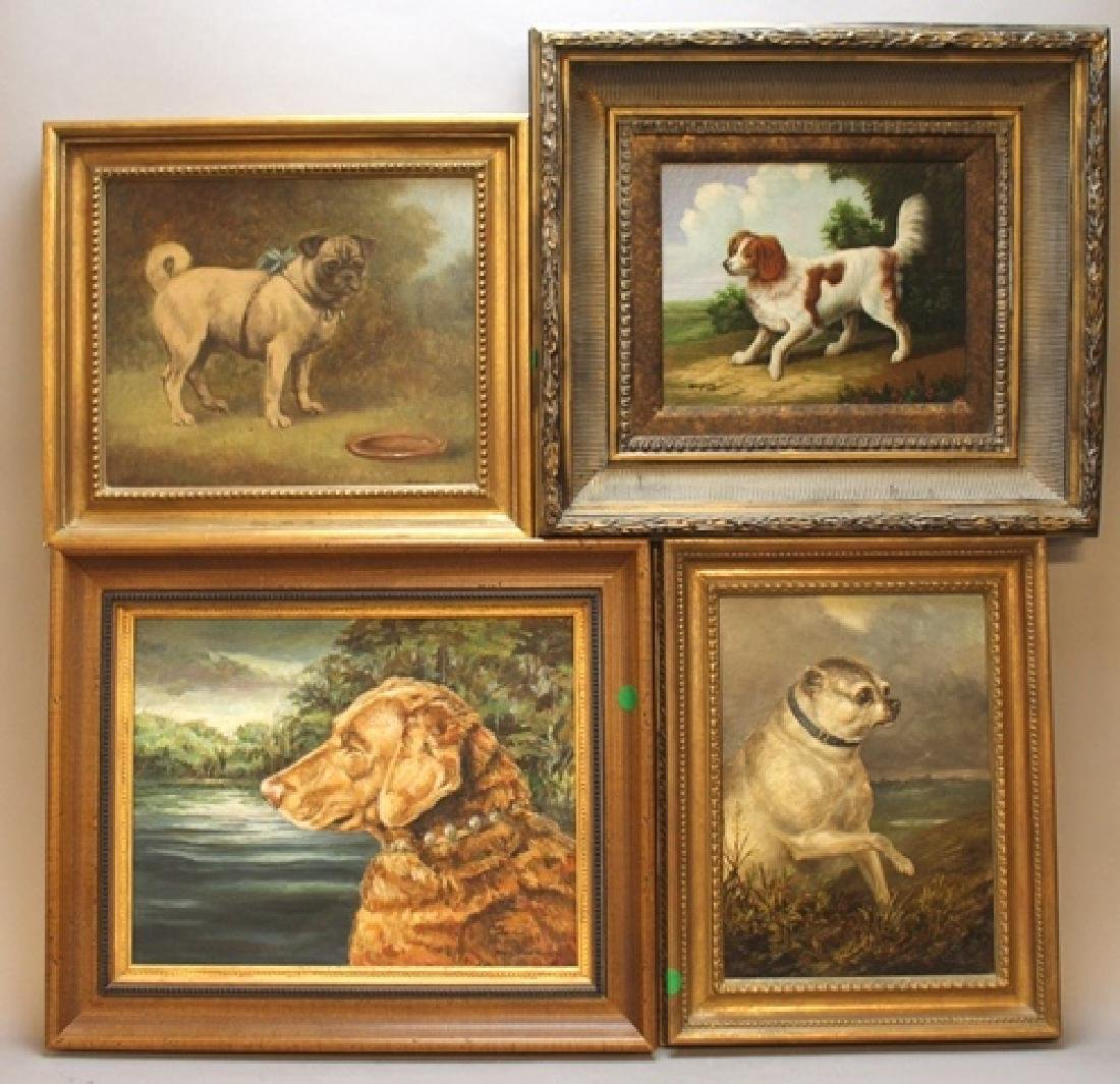 Collection of 4 Gilded Oil on Canvas Paintings of