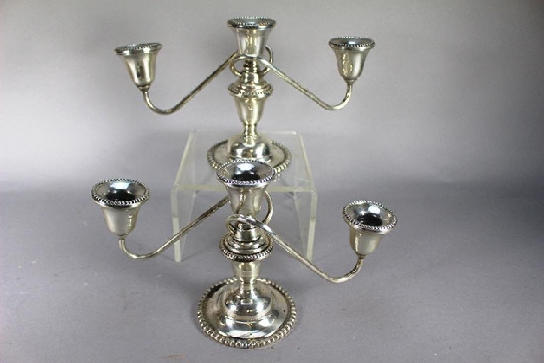 Pair of 3 Branch International Sterling Candelabras - 2