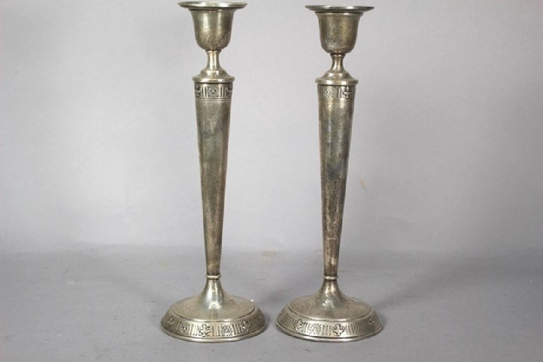 Pair of Adams Style Sterling Silver Candle Sticks - 3