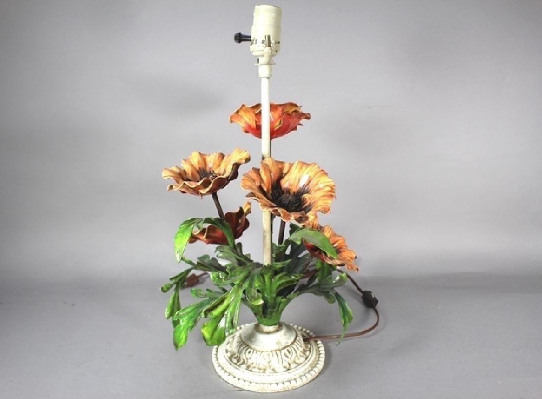 Painted Metal Flower Lamp