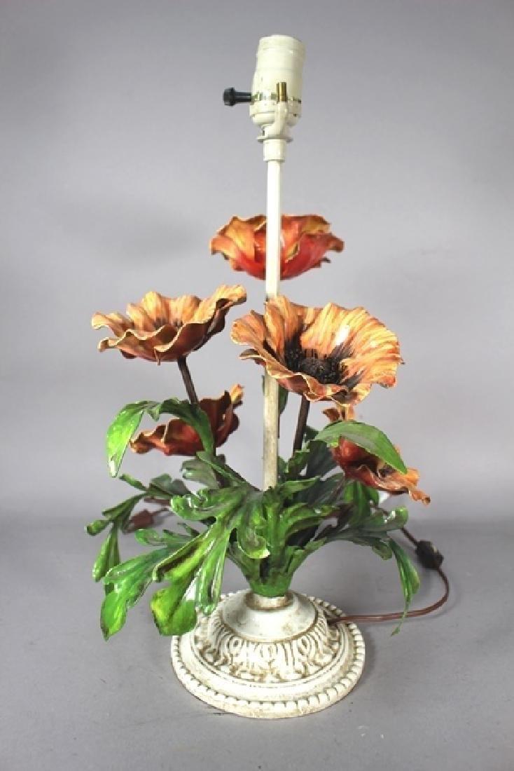 Painted Metal Flower Lamp - 2