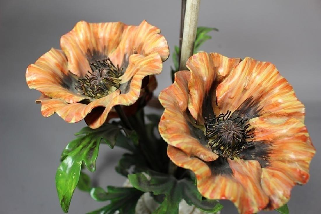 Painted Metal Flower Lamp - 3