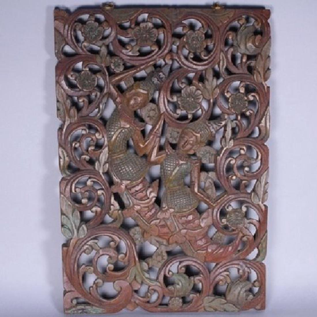 Decorative Tibetan Carved Teakwood Wall Hanger