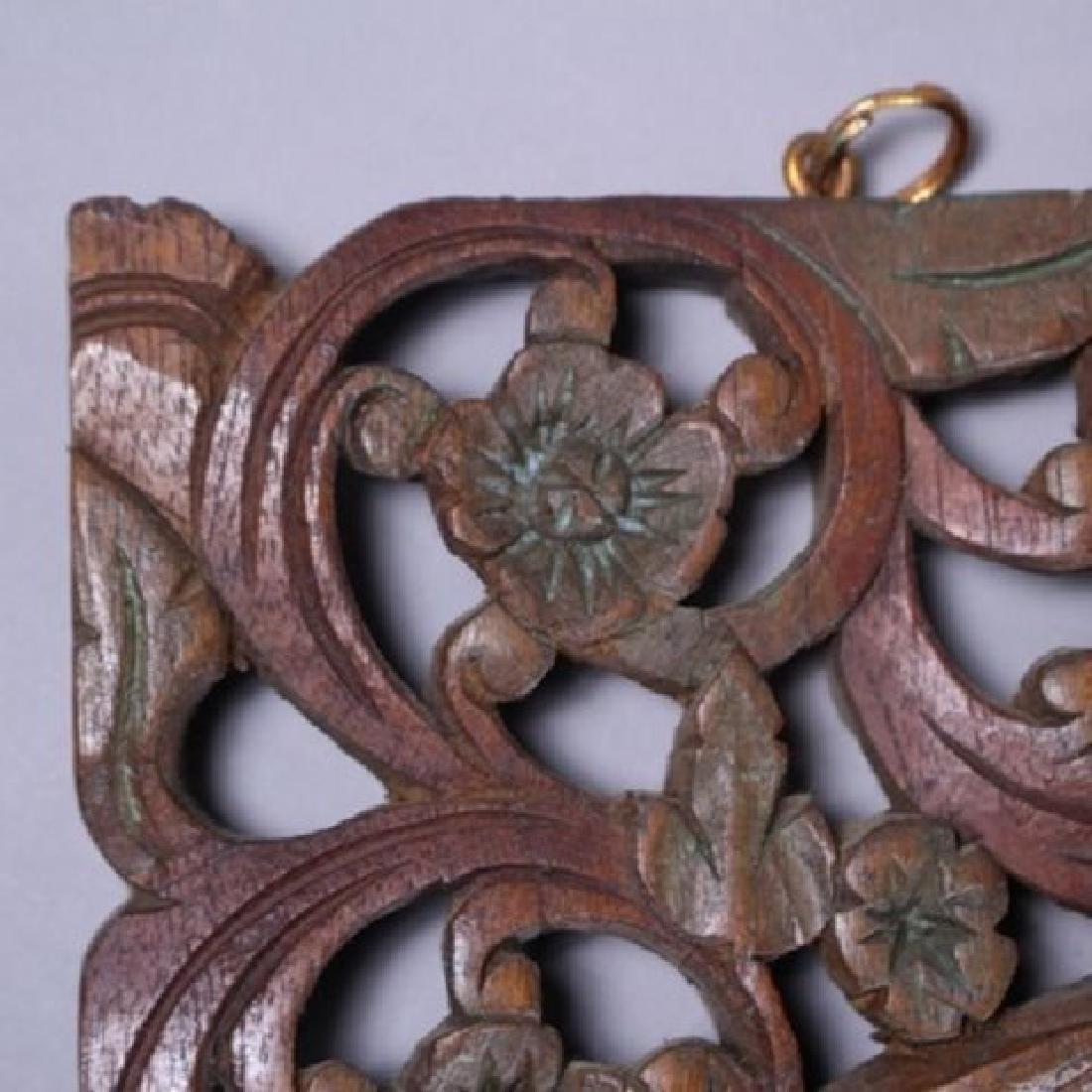 Decorative Tibetan Carved Teakwood Wall Hanger - 4