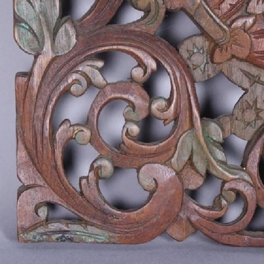 Decorative Tibetan Carved Teakwood Wall Hanger - 5