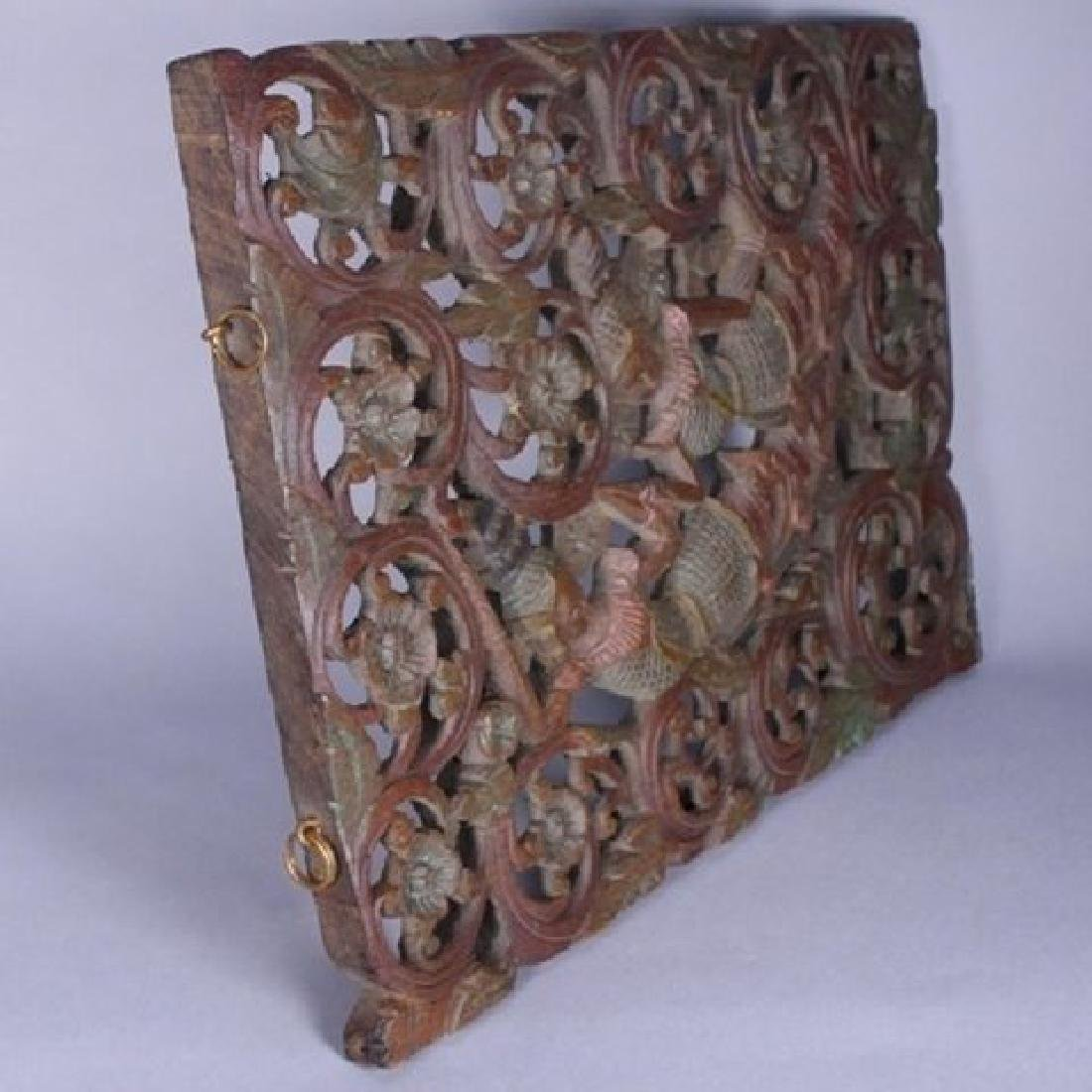 Decorative Tibetan Carved Teakwood Wall Hanger - 6