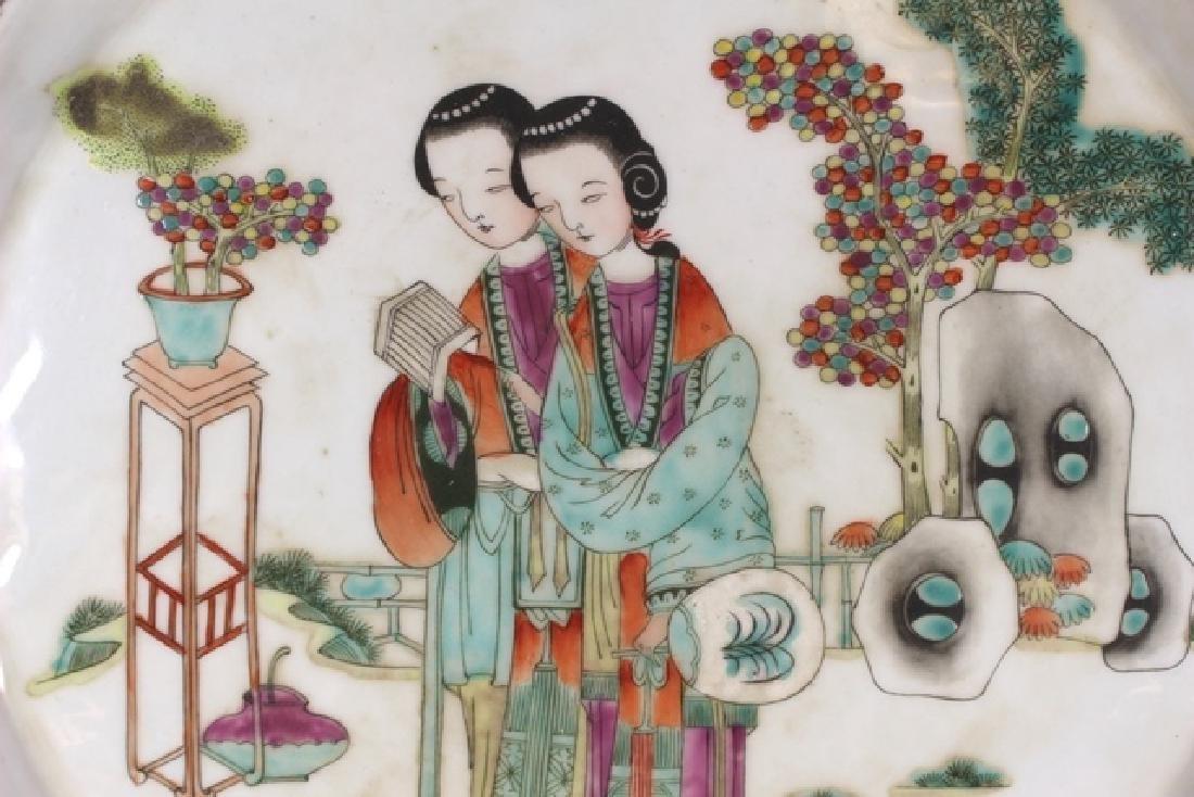 Porcelain Oriental Circle Platter with Geisha - 3