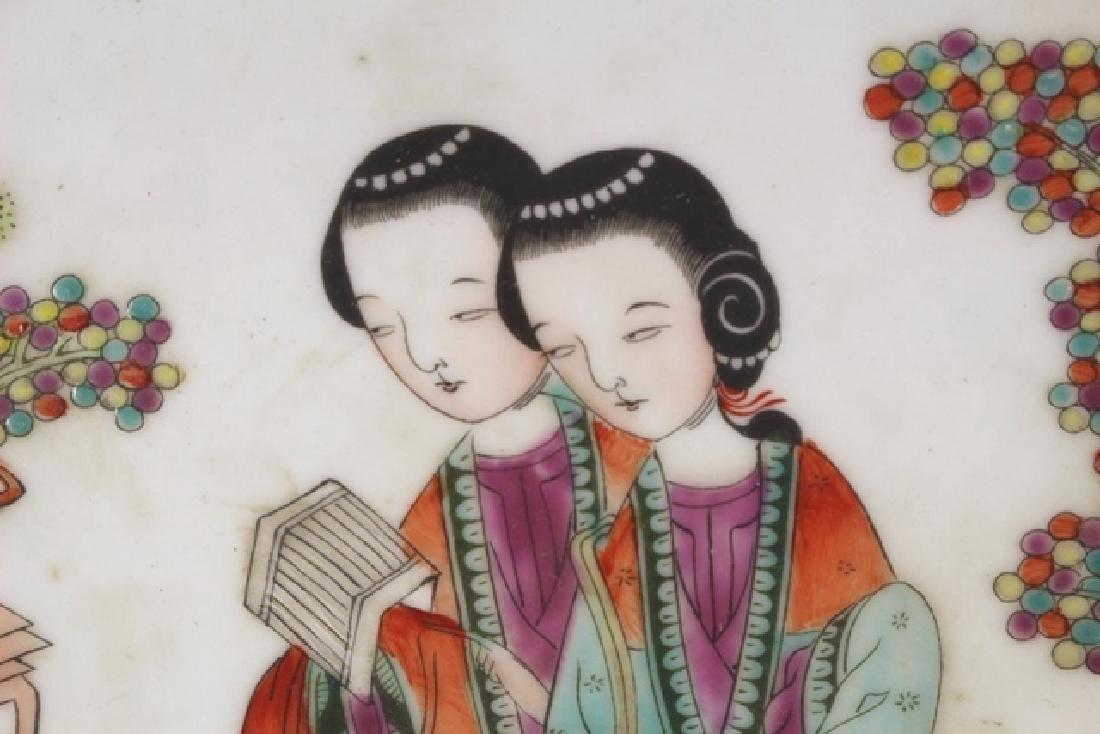 Porcelain Oriental Circle Platter with Geisha - 4