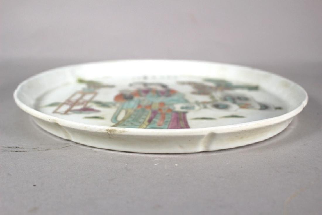 Porcelain Oriental Circle Platter with Geisha - 6
